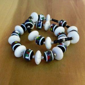 Jewelry - Handmade White Howlite Stretch Double Bracelet